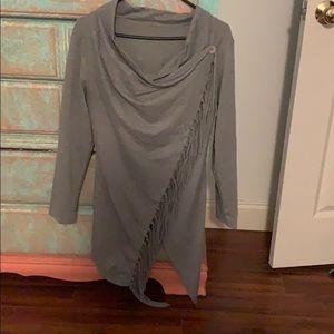 Long grey sleeve cover up, like a shirt